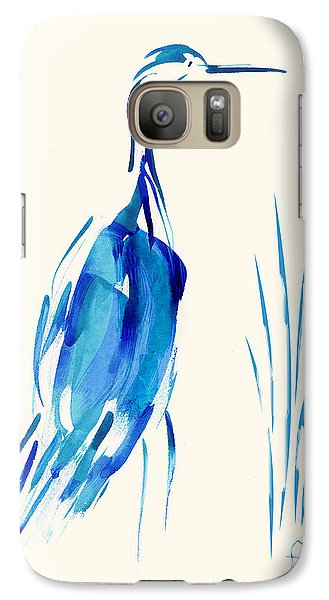 Galaxy Case featuring the mixed media Egret In Blue Mixed Media by Frank Bright