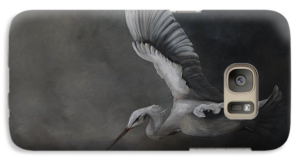 Galaxy Case featuring the painting Egret In Flight by Nancy Bradley