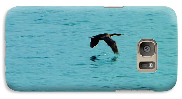 Galaxy Case featuring the photograph Egret Skimming The Pacific by Brigitte Emme