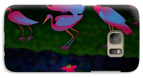 Galaxy Case featuring the digital art Egrets by Latha Gokuldas Panicker
