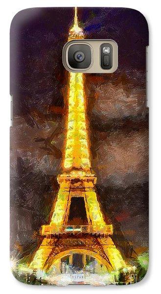 Galaxy Case featuring the digital art Eiffel Tower By Night by Kai Saarto