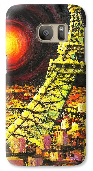 Galaxy Case featuring the painting Eiffel Tower by Cheryl Del Toro