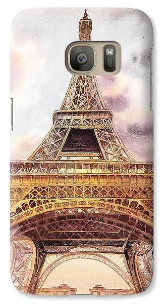 Galaxy Case featuring the painting Eiffel Tower Vintage Art by Irina Sztukowski