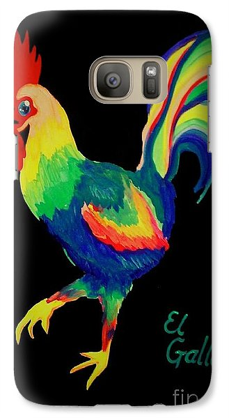 Galaxy Case featuring the painting El Gallo by Marisela Mungia
