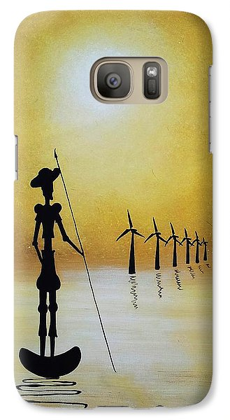 Galaxy Case featuring the painting Don Quixote Fighting The Windmills by Edwin Alverio