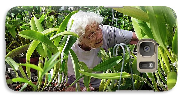 Elderly Woman Examining Plants Galaxy S7 Case by Jim West