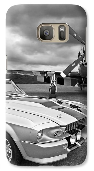 Eleanor Mustang With P51 Black And White Galaxy Case by Gill Billington