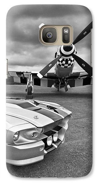 Eleanor Mustang With P51 Black And White Galaxy S7 Case by Gill Billington