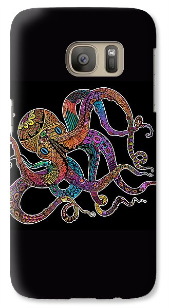 Galaxy Case featuring the drawing Electric Octopus On Black by Tammy Wetzel