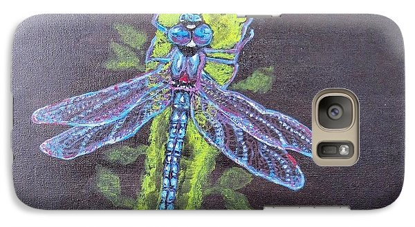 Galaxy Case featuring the painting Electrified Blue Dragonfly by Kimberlee Baxter