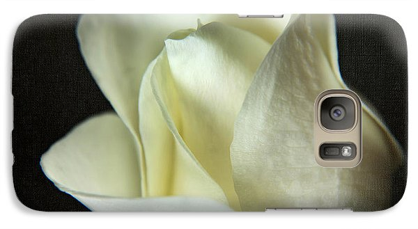 Galaxy Case featuring the photograph Elegant White Rose Textured by Eden Baed