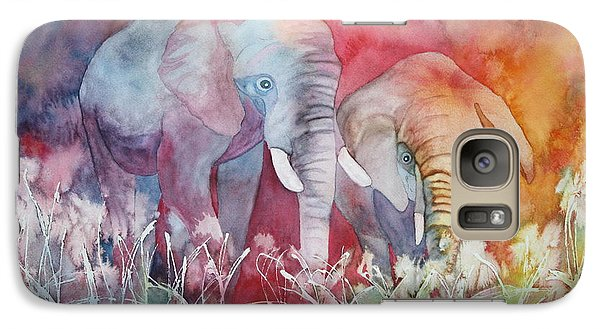Galaxy Case featuring the painting Elephant Duo by Nancy Jolley