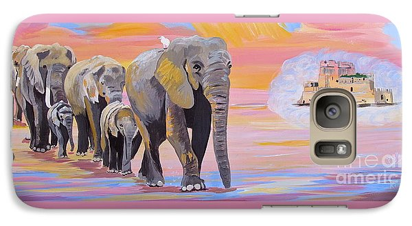 Galaxy Case featuring the painting Elephant Fantasy Must Open by Phyllis Kaltenbach