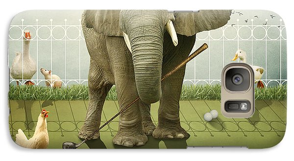 Galaxy Case featuring the photograph Elephant Golf by Ethiriel  Photography