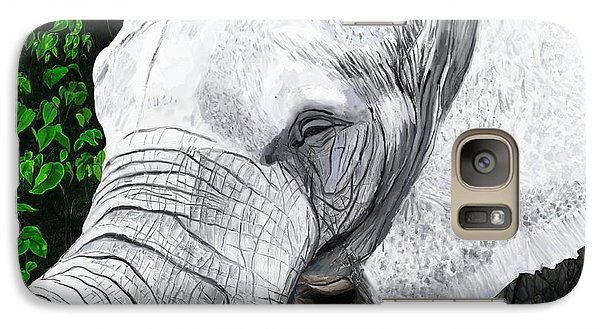 Galaxy Case featuring the painting Elephant II by Jeanne Fischer