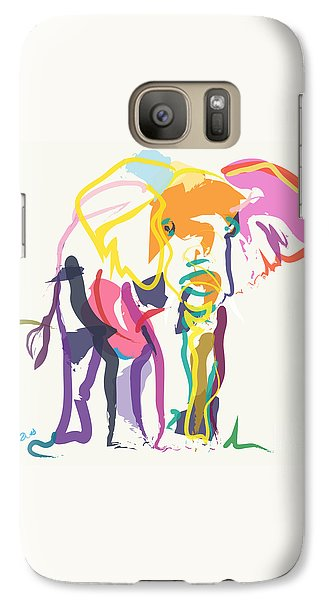 Galaxy Case featuring the painting Elephant In Color Ecru by Go Van Kampen