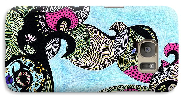 Galaxy Case featuring the drawing Elephant Lotus And Bird Design by Mukta Gupta
