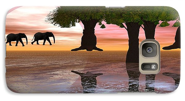 Galaxy Case featuring the digital art Elephant Walk by Jacqueline Lloyd