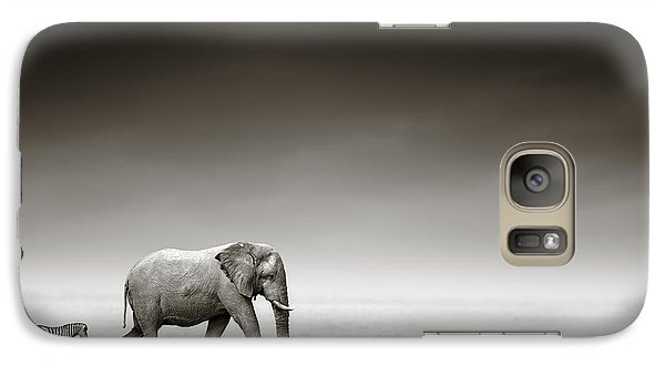 Zebra Galaxy S7 Case - Elephant With Zebra by Johan Swanepoel