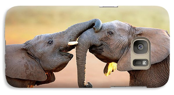 Elephant Galaxy S7 Case - Elephants Touching Each Other by Johan Swanepoel