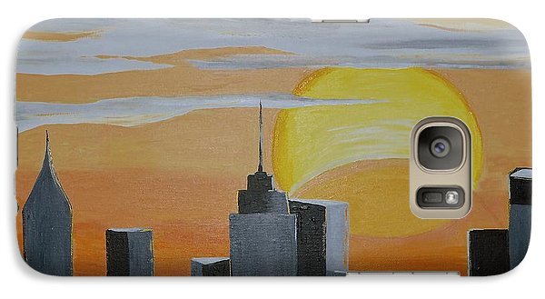 Galaxy Case featuring the painting Elipse At Sunrise by Donna Blossom
