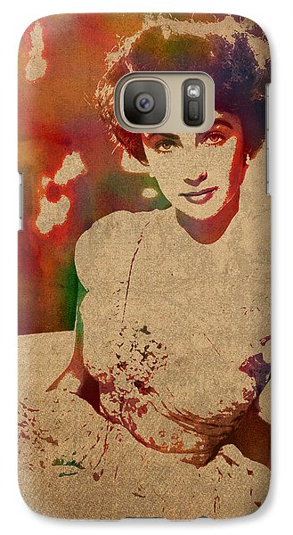 Elizabeth Taylor Watercolor Portrait On Worn Distressed Canvas Galaxy S7 Case