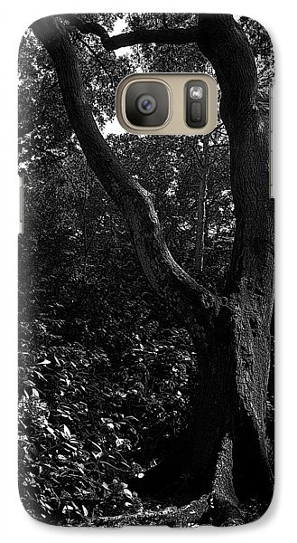 Galaxy Case featuring the photograph Elizabethan Gardens Tree In B And W by Greg Reed