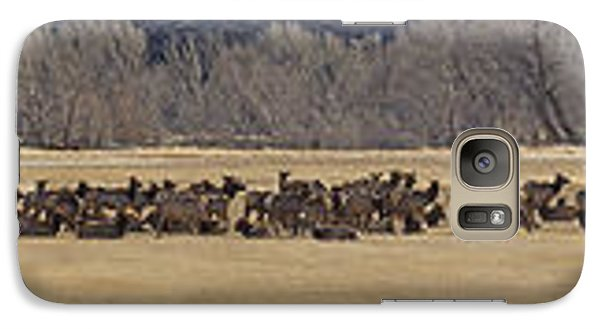 Galaxy Case featuring the photograph Elk Herd And Horses Panorama 18x161 by J L Woody Wooden