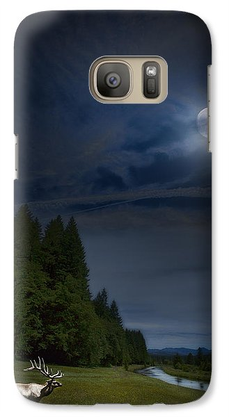 Elk Under A Full Moon Galaxy S7 Case