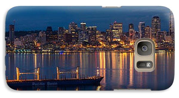 Elliott Bay Seattle Skyline Night Reflections  Galaxy Case by Mike Reid