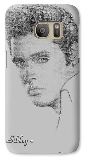 Galaxy Case featuring the drawing Elvis In Charcoal by Loxi Sibley