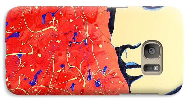 Galaxy Case featuring the painting Elvis Presley - Red Blue Drip by Bob Baker