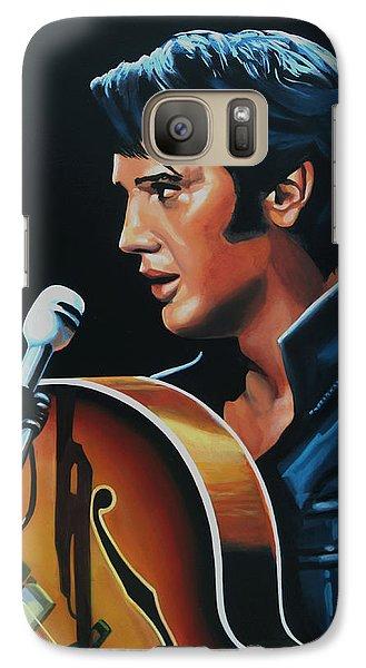 Rock And Roll Galaxy S7 Case - Elvis Presley 3 Painting by Paul Meijering
