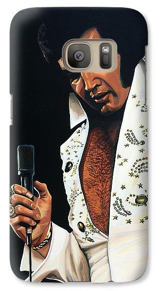 Rock And Roll Galaxy S7 Case - Elvis Presley Painting by Paul Meijering