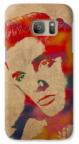 Elvis Presley Watercolor Portrait On Worn Distressed Canvas Galaxy Case by Design Turnpike