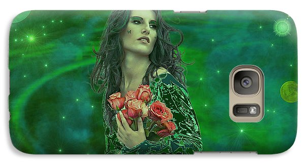 Galaxy Case featuring the digital art Emerald Universe by Michael Rucker