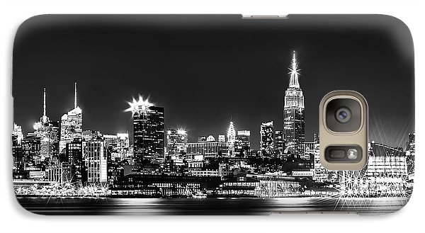 Empire State Building Galaxy S7 Case - Empire State At Night - Bw by Az Jackson