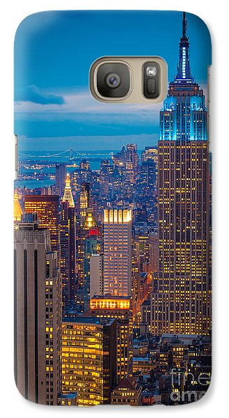 Empire State Blue Night Galaxy S7 Case by Inge Johnsson