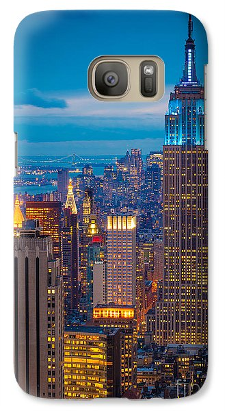 City Scenes Galaxy S7 Case - Empire State Blue Night by Inge Johnsson