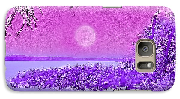 Galaxy Case featuring the digital art Rosy Hued Moonlit Lake - Boulder County Colorado by Joel Bruce Wallach