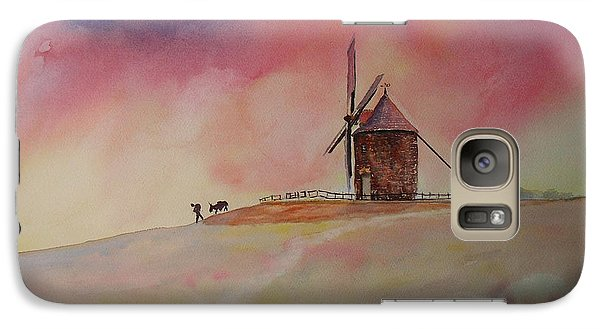 Galaxy Case featuring the painting End Of The Day Windmill Of Moidrey by Beatrice Cloake
