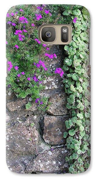 Galaxy Case featuring the photograph English Garden Wall by Bev Conover