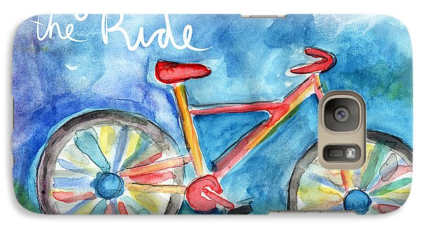 Bicycle Galaxy S7 Case - Enjoy The Ride- Colorful Bike Painting by Linda Woods