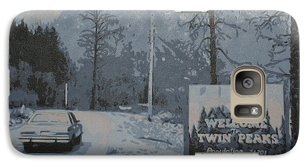 Galaxy Case featuring the painting Entering The Town Of Twin Peaks 5 Miles South Of The Canadian Border by Luis Ludzska