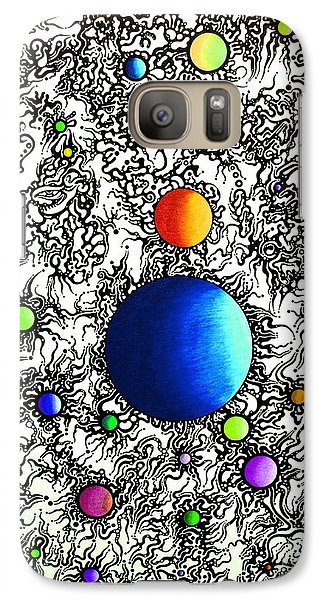 Galaxy Case featuring the drawing Entropy Color Variation 4 by Devin  Cogger