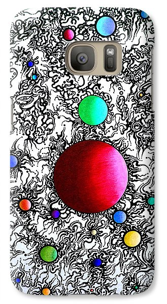 Galaxy Case featuring the drawing Entropy Color Variation 6 by Devin  Cogger