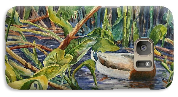 Galaxy Case featuring the painting Environmentally Sound - Mallard Duck by Roxanne Tobaison
