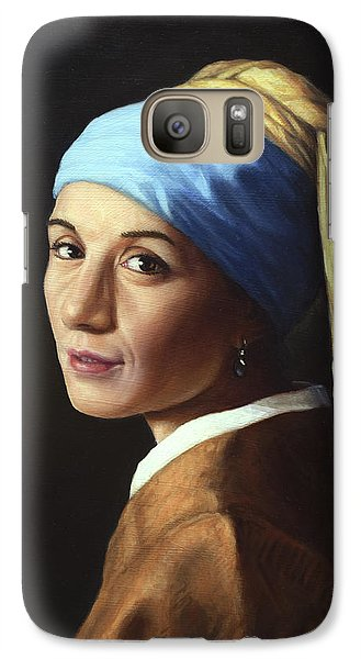 Galaxy Case featuring the painting Erika With A Pearl Earring by James W Johnson