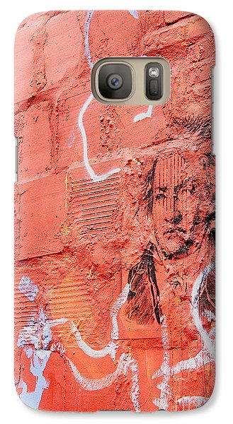 Galaxy Case featuring the photograph Etched Man On A Red Brick Wall by Jim Lepard
