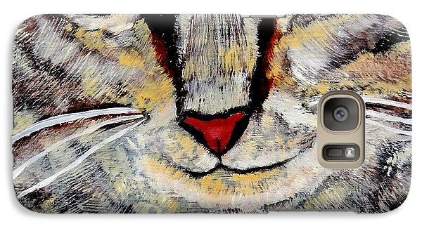 Galaxy Case featuring the painting Ethical Kitty See's Your Dilemma by Lisa Brandel